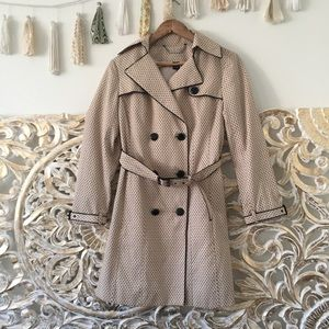 White House Black Market Pin Dot Bow Trench Coat